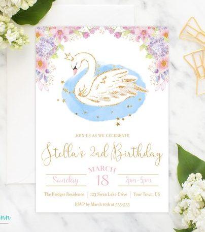 Swan Invite Swan Photo Birthday Invitation Printable Birthday Invitation Custom Swan Birthday Invitation Swan Birthday Invitation