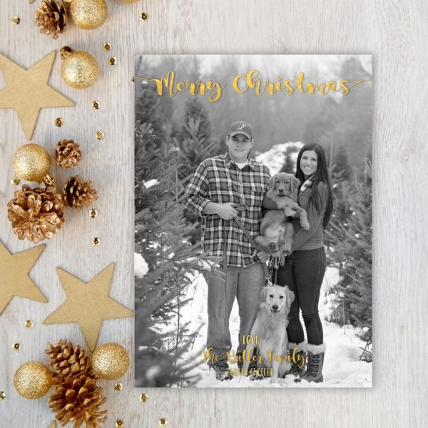 Christmas Card, Photo Christmas Card, Faux Gold Foil, Modern, Printable, Gold, Photo Card, Merry Christmas, Xmas, Digital or Printed