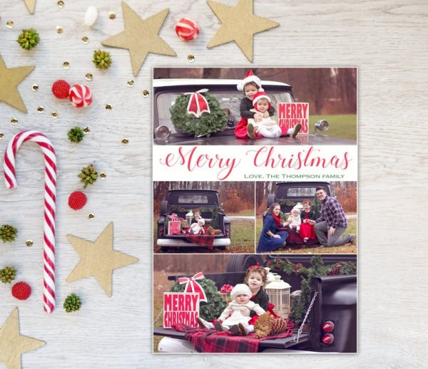 Photo Christmas Card, Merry Christmas, Holiday Card, Photo Card, Collage, Modern, up to Four Photos, Xmas, Horizontal Pictures, Printable