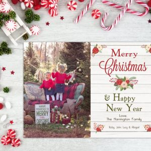 Christmas Card, Rustic Photo Christmas Card, Holiday Card, Happy New Year, Wood, Photo Card, Merry Christmas, Template, Vertical, Printable