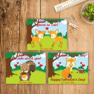 Valentine's Day Cards Kid Valentines Cards Woodland Deer Fox Squirrel Cards Kids Valentines Day Printable School Classmates Personalized