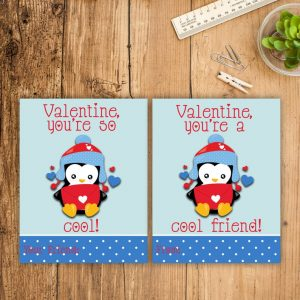 Penguin Kid Valentines Cards Valentine's Day Cards School Classmate Penguins Cool Friend Printable Cool Friend School Exchange Valentine