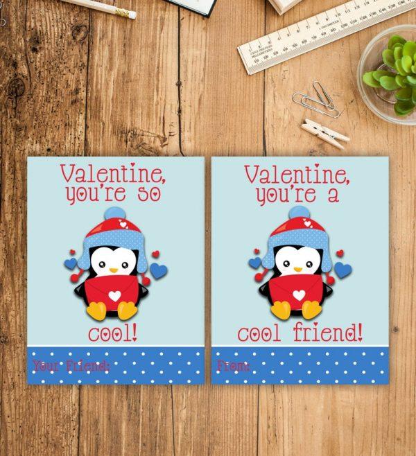 Penguin Kid Valentines Cards Valentine's Day Cards School Classmate Penguins Cool Friend Printable Cool Friend School Exchange Valentine