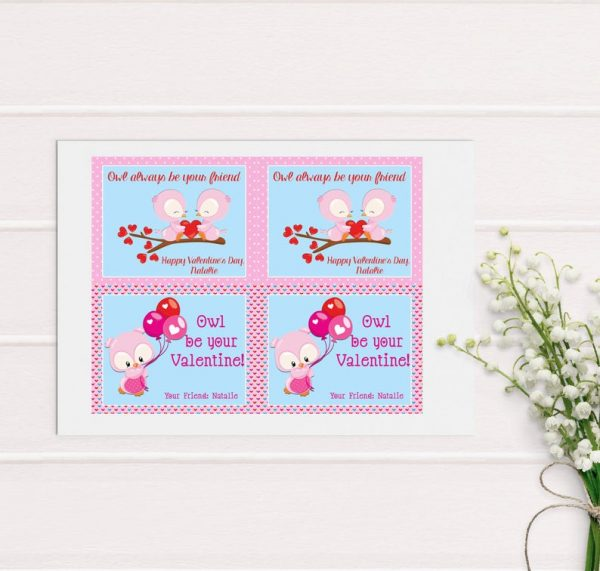 Owl Valentine's Day Cards, Kid Valentines Day Cards, School, Classmate, Printable Valentines, Friend Valentines Card, Owl be Your Friend