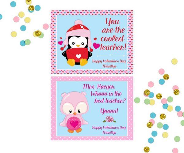 teacher Valentine's Day Cards Best Teacher Personalized Printable Valentines Day Owl Penguin School Printable Valentines Cards
