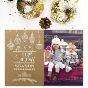 Holiday Card Photo Christmas Card, Kraft Paper, Modern, Happy Holidays, Rustic, Photo Card, Christmas, Xmas, Vertical, Printable