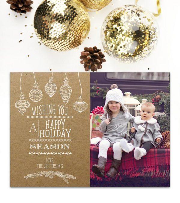 Holiday Card Photo Christmas Card, Kraft Paper, Modern, Happy Holidays, Rustic, Photo Card, Christmas, Xmas, Vertical, Printable