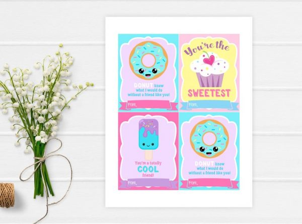 Kid Valentines Cards for School INSTANT DOWNLOAD Donut Cupcake Cool Friend Ice Cream Valentines Day, Printable School Valentines Cards