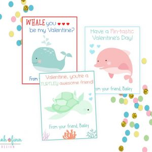 Kids Sea Animal Valentine's Day Cards, Kid Whale Dolphin Turtle Ocean Valentines Day Cards for School, Friend Cards Valentines, Printable