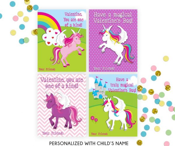 "Valentines Cards for kids to share at school with classmates. Personalized with name - Printable File ======================== WHAT YOU ARE PURCHASING: ======================== ►Unicorn Valentine's Day Cards ►You will receive a PDF file with personalized cards. No items will be shipped. ►Include your child's name in Notes to Seller and it will be added to the cards at no extra charge. ►Unicorn Valentine's Cards: 3.5"" x 4.5"" cards You may print at home or anywhere you would like. ======================== IMPORTANT TO KNOW: ======================== ►All designs are sold as shown and described and DO NOT INCLUDE customization of graphics, fonts or any other design element. Custom graphic elements will require an additional fee. ======================== HOW TO CHECK OUT: ======================== 1. Place your order into your cart and include the child's name under NOTES TO SELLER. 2. Submit payment. 3. You will receive a proof to your Etsy account if all needed information is received. ======================== COLOR VARIATIONS ======================== Printed colors may vary from one computer monitor to another, one printer to another and Sarah Finn Design is not responsible for resulting color variations. Because there are a vast number of variables involved in printing, there will be no refunds and no design revisions of colors if you do not like the colors when printed. You can test the color with the emailed proof. ======================== THE FINE PRINT ======================== These UnicornValentine's Cards files are for PERSONAL USE ONLY. You may not share or forward these files to anyone else or use them commercially or for profit. ©copyright 2019 Sarah Finn Design All Rights Reserved"
