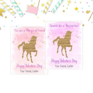 Unicorn Valentine's Day Cards, Valentines Day, School, Kid Valentines, Glitter Unicorns, Classmate, Printable, Valentines Card, Friend Cards