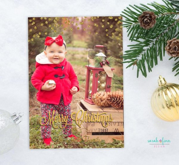 Christmas Card Photo Gold Modern Printable Merry Christmas Holiday Card Faux Gold Foil Photo Card Vertical Printable Gold Overlay