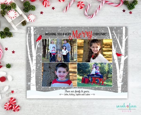Photo Christmas Card Birch Trees Christmas Photo Template Card Cardinals Woodland Photo Card Merry Christmas Printable Digital