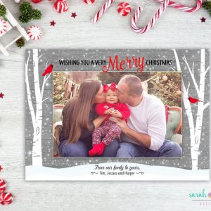 Photo Christmas Card Birch Trees Christmas Photo Template Card Cardinals Woodland Photo Card Merry Christmas Printable Digital
