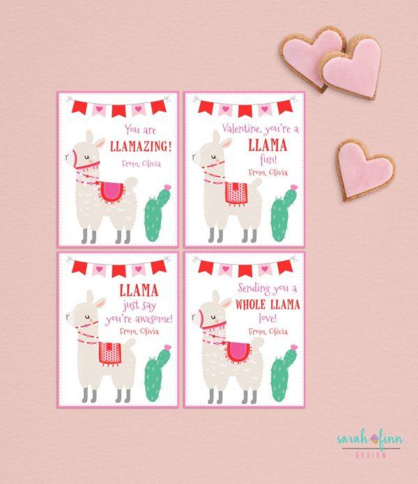 Llama Kids Valentines Day Cards