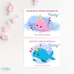 Narwhal Kid Valentines Day Cards School Exchange Valentine's Friend Printable Cards Classmate Digital Valentines Cards Personalized