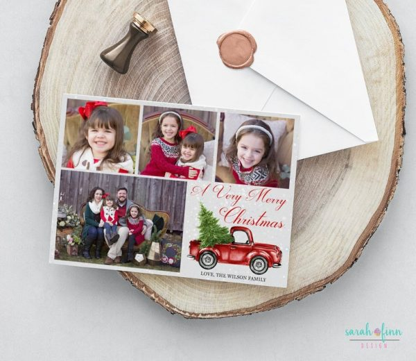 Vintage Pickup Truck Photo Collage Christmas Card Merry Christmas Photo Holiday Card Up to 4 pictures Digital Printable or Printed Winter
