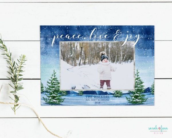 Christmas Photo Card Peave Love Joy Religious Merry Christmas Photo Holiday Card Digital Printable or Printed Winter Holiday Cards Blue