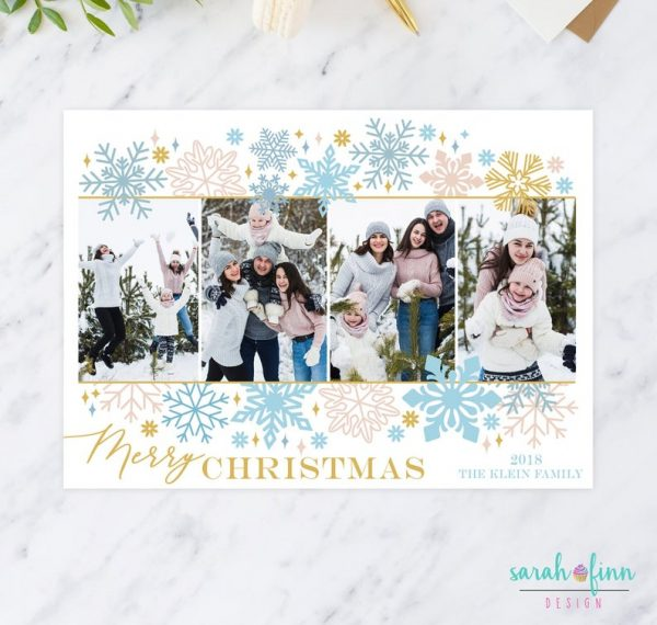 Blue Gold Photo Christmas Card Merry Christmas Snowflakes Photo Collage Up to 4 pictures Digital Printable or Printed Winter Holiday