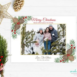 Christmas Photo Card Red Green Holly Pine cone Merry Christmas Photo Holiday Card Digital Printable or Printed Winter Holiday Cards