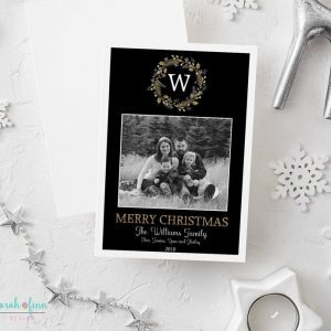Christmas Photo Card Wreath Monogram Initial Merry Christmas Photo Holiday Card Digital Printable or Printed Winter Holiday Cards Gold