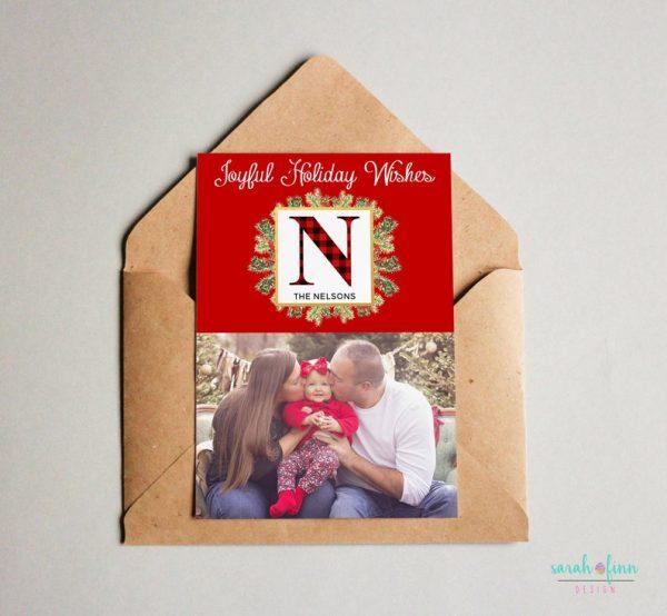 Christmas Photo Card Plaid Merry Christmas Photo Joyful Holiday Card Digital Printable or Printed Winter Holiday Cards