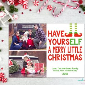 Christmas Photo Card Merry Christmas Photo Fun Cute Elf Holiday Card Digital Printable or Printed Winter Holiday Cards 2 photos collage
