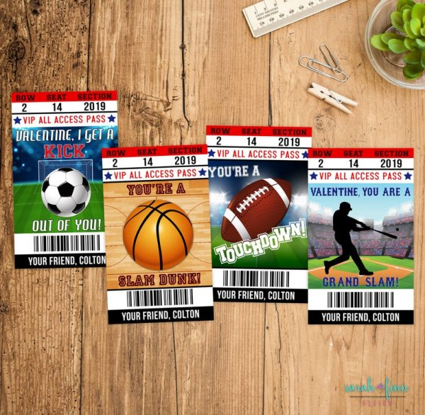 Sports Valentine Cards Kids Valentine's Day Cards Personalized Printable Valentine's Day Cards Set of 4 Soccer Football Baseball Basketball