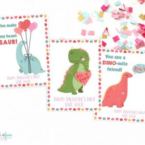 Dinosaur Kids Valentines Day Cards Dino School Valentine's Friend Printable Cards Classmate