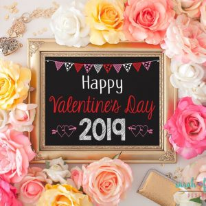 Happy Valentines Day Printable Sign Valentine Photo Prop Baby Photo Prop Printable Instant Download Chalkboard Digital Valentine's Day Sign