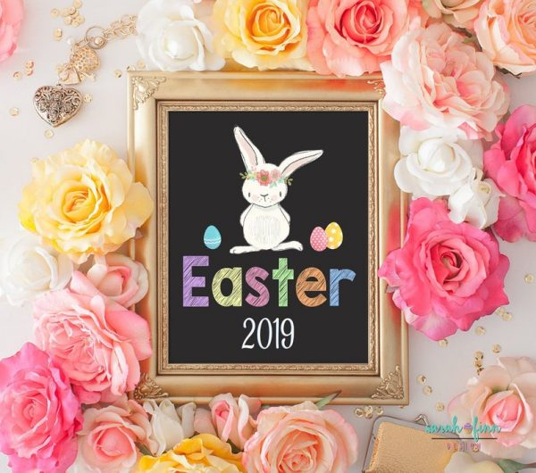 Easter Printable Chalk Sign First Easter Baby's First Easter Photography Prop Chalkboard Sign Bunny 2019 INSTANT DOWNLOAD