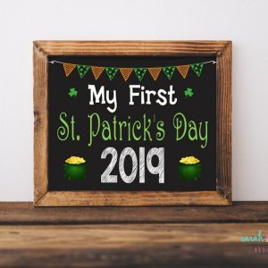 "This ""My First St. Patrick's Day"" chalkboard sign is an adorable photo prop for any photo shoot. INSTANT DOWNLOAD. ======================== WHAT YOU ARE PURCHASING: ======================== ►My First St. Patrick's Day printable chalk sign ►JPG files are available as an instant download shortly after payment at checkout. No items will be shipped. ►3 Sizes included: 5x7, 8x10, and 11x14 ======================== IMPORTANT TO KNOW: ======================== ►All designs are sold as shown and described and DO NOT INCLUDE customization of graphics, fonts or any other design element. Custom graphic elements will require an additional fee. ======================== HOW TO CHECK OUT: ======================== 1. Place your order into your cart and submit payment. 2. Once payment is complete, JPG files will be available for instant download in your Etsy account and a ""Download Your Etsy Purchase"" email will be sent to your email account. ======================== COLOR VARIATIONS ======================== Printed colors may vary from one computer monitor to another, one printer to another and Sarah Finn Design is not responsible for resulting color variations. Because there are a vast number of variables involved in printing, there will be no refunds and no design revisions of colors if you do not like the colors when printed. You can test the color with the emailed proof. ======================== THE FINE PRINT ======================== This My First St. Patrick's Day Printable files are for PERSONAL USE ONLY. You may not share or forward these files to anyone else or use them commercially or for profit. You may NOT use my photos in any form. ©copyright Sarah Finn Design All Rights Reserved"