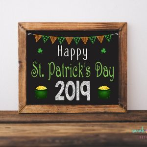 Happy St. Patrick's Day Sign Printable St Pattys Chalk Sign St. Patricks Day Photo Prop Kids Baby Instant Download Baby's First