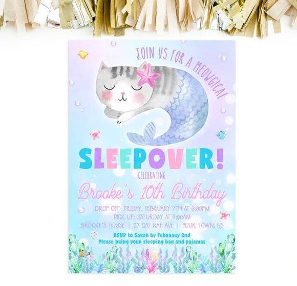 Cat Mermaid Sleepover Birthday Invitation - Printable File