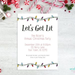 Lights Let's Get Lit Invitation - Printable File